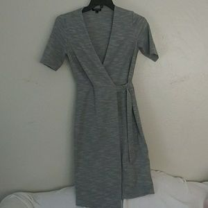 TOPSHOP heathered grey, fitted, wrap dress, Sz. 6